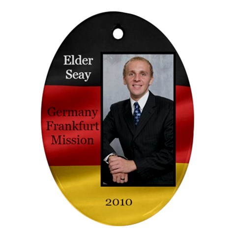 Elder Seay German Flag Ornament 2010 By Stephanie   Ornament (oval)   Pbaz8zn05enl   Www Artscow Com Front
