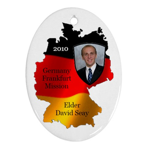 Elder David Seay Germany Ornament 2010 By Stephanie   Ornament (oval)   Lr8n29s0r4vn   Www Artscow Com Front