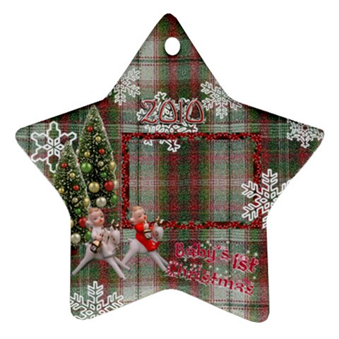 Angels On Reindeer Baby 1st Christmas 2010 Ornament 54 By Ellan   Ornament (star)   Jha9lw9jqp3k   Www Artscow Com Front