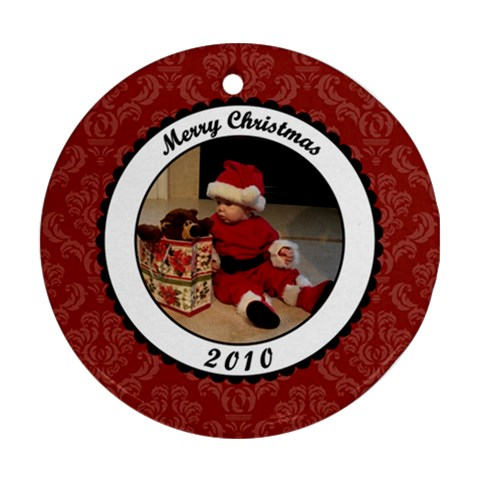 Merry Christmas 2010 Round Ornament By Klh   Ornament (round)   Crzqgqtdgqc9   Www Artscow Com Front