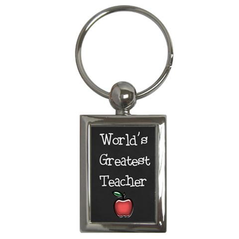 World s Greatest Teacher Keychain (rectangle) By Jen   Key Chain (rectangle)   Bbwaqmp418wx   Www Artscow Com Front