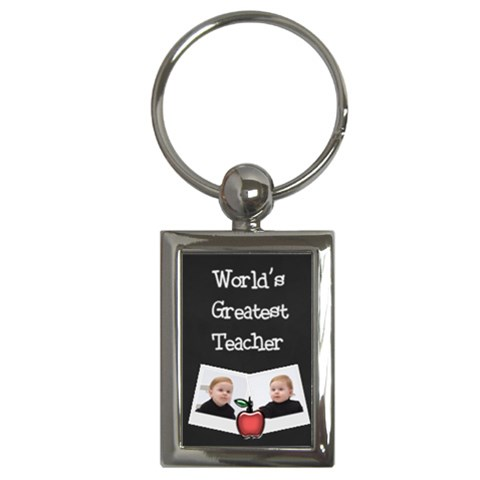 World s Greatest Teacher Keychain W Photos (rectangle) By Jen   Key Chain (rectangle)   Iggy5wzg2lmv   Www Artscow Com Front