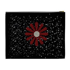 All That Glitters Black Xl Cosmetic Bag W/flowers By Jen   Cosmetic Bag (xl)   Nhmzt3jp5uog   Www Artscow Com Back