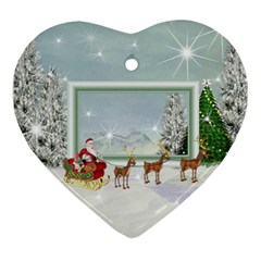 Here Comes Santa Ornament 1 By Snackpackgu   Heart Ornament (two Sides)   Kmsascnmekur   Www Artscow Com Front