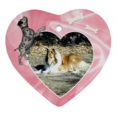 Doggie Love  By Snackpackgu   Heart Ornament (two Sides)   Uf8p6swwrhw4   Www Artscow Com Front