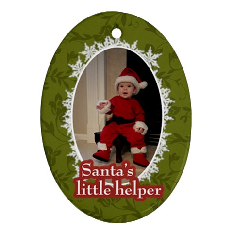 Santa s Little Helper Ornament By Klh   Ornament (oval)   5aekqgpr0g07   Www Artscow Com Front