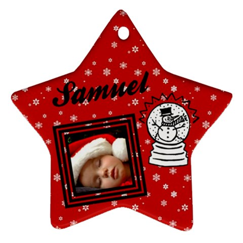 Red Christmas   Ornament By Carmensita   Ornament (star)   Pbpzz7ay2hu9   Www Artscow Com Front