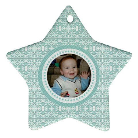 Tiffany Blue Lace Star Ornament by Kristen L. Youles Front
