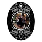 Fancy Black & White Oval Ornament - Ornament (Oval)