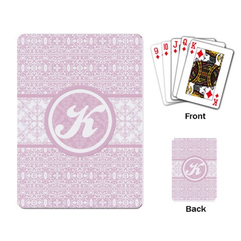 Pink Lace Monogram Playing Cards By Klh   Playing Cards Single Design   Un2dxspvkyzs   Www Artscow Com Back