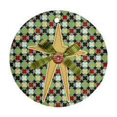 Joy Ornament 3 By Sheena   Round Ornament (two Sides)   K451oru42w35   Www Artscow Com Back