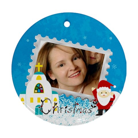 Christmas By Wood Johnson   Ornament (round)   Phmaatilzx7g   Www Artscow Com Front