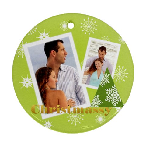 Christmas By Wood Johnson   Ornament (round)   Vt4rsuoxo8f2   Www Artscow Com Front