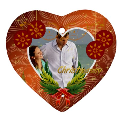 Christmas By Wood Johnson   Ornament (heart)   I5a14aip3knr   Www Artscow Com Front