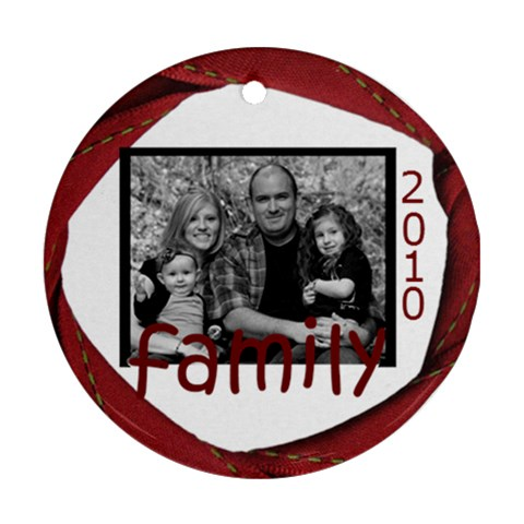 Family Round Ribbon Ornament By Amanda Bunn   Ornament (round)   4ksck3ie36n9   Www Artscow Com Front
