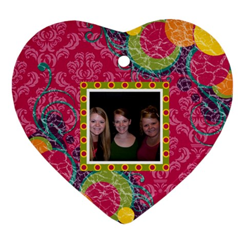 Bright Patterns Heart Ornament By Klh   Ornament (heart)   0mvusd2bbmsm   Www Artscow Com Front