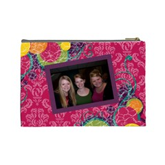 Bright Patterns Pink Large Cosmetic Bag By Klh   Cosmetic Bag (large)   J6f9l4b2s8kz   Www Artscow Com Back