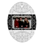 Fancy White & Black Oval Ornament - Ornament (Oval)