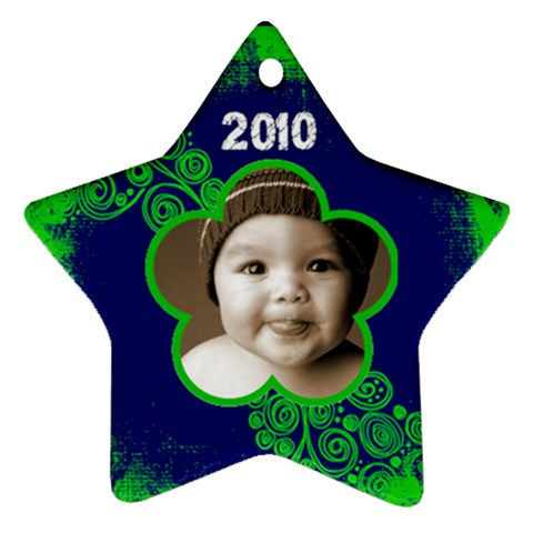 Scroll Upon A Star Lime And Cobalt 2010 Star Ornament By Catvinnat   Ornament (star)   X0b86azdexd0   Www Artscow Com Front
