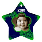 Scroll Upon a Star lime and cobalt 2010 star ornament - Ornament (Star)