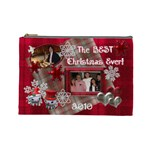 BEST Christmas Ever red plaid snow extra large cosmetic bag - Cosmetic Bag (Large)