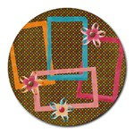 Polka Dots/flowers mousepad - Collage Round Mousepad