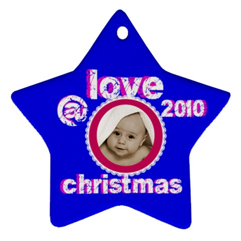 Love   Christmas  2010 Star Ornament By Catvinnat   Ornament (star)   Av8l78ln7722   Www Artscow Com Front