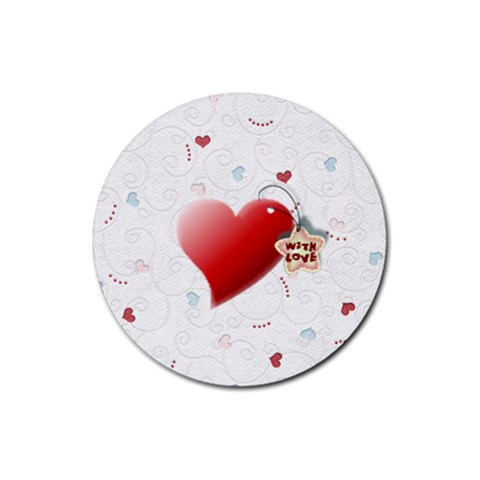 With Love Heart By Daniela   Rubber Round Coaster (4 Pack)   J8hwp7m6vhiz   Www Artscow Com Front