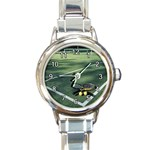 TENNIS PLAYER COURT, BALL & RAQUET ROUND ITALIAN CHARM WATCH