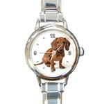 DACHSHUND DOG PET ANIMAL ROUND ITALIAN CHARM WATCH