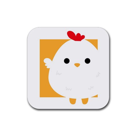 Chicken Coaster By Joyce   Rubber Square Coaster (4 Pack)   Qd7qwraj6o22   Www Artscow Com Front