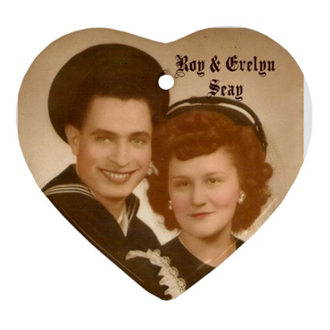 Gma Gpa Seay Wedding Heart Ornament By Stephanie   Ornament (heart)   X98l9l4bifky   Www Artscow Com Front