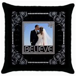 Believe Throw Pillow - Throw Pillow Case (Black)