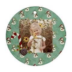Joy Ornament 5 By Sheena   Round Ornament (two Sides)   5rfnyj86v6f4   Www Artscow Com Front