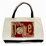 love red & beige swirls tote tote bag 3 - Classic Tote Bag (Two Sides)