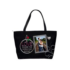 Love Makes The World Go Round Shoulder Handbag By Lil    Classic Shoulder Handbag   3b7ml9y5eqfy   Www Artscow Com Back