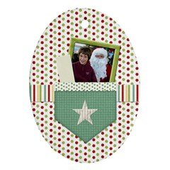 Happy Holidays Ornament Oval 1001 By Lisa Minor   Oval Ornament (two Sides)   Xujjnziex6h4   Www Artscow Com Front