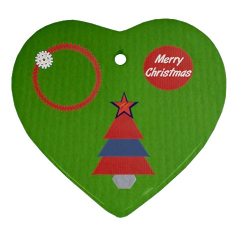Merry Christmas   Green By Daniela   Ornament (heart)   Qz3tnjkgok7i   Www Artscow Com Front