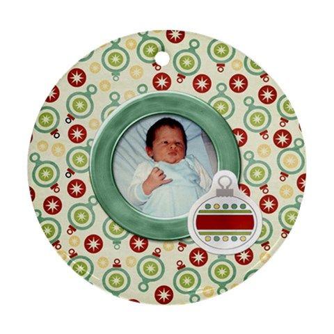 Happy Holidays Ornament 203 By Lisa Minor   Ornament (round)   8pr4zgi84i8r   Www Artscow Com Front