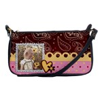 Brown, Pink, and Yellow, heart shoulder clutch - Shoulder Clutch Bag