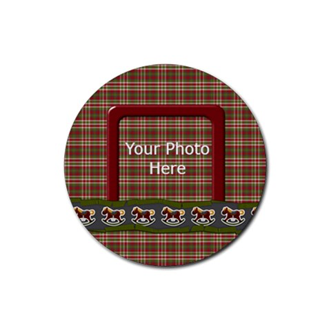 My Christmas Pony Coaster By Lisa Minor   Rubber Round Coaster (4 Pack)   1vcepvgirp2b   Www Artscow Com Front