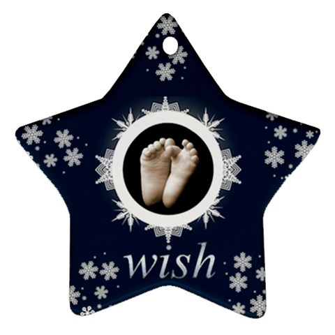 Wish Snowflake Star Ornament By Catvinnat   Ornament (star)   G4slnzx7pd5n   Www Artscow Com Front