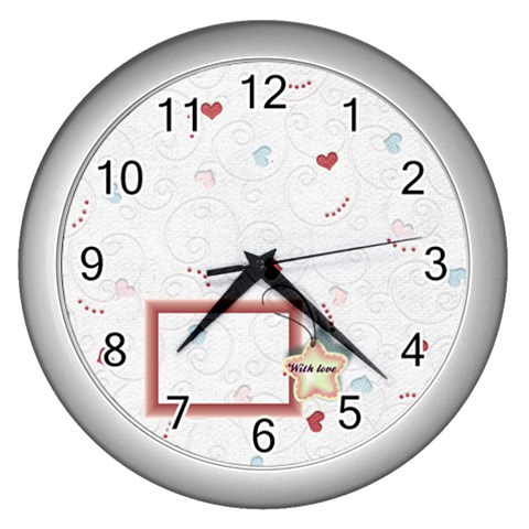 With Love By Daniela   Wall Clock (silver)   U7xy9y2p3glj   Www Artscow Com Front