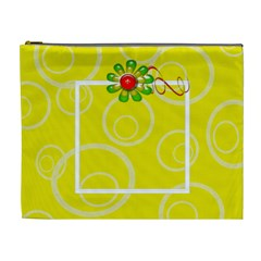 Yellow Swirls Custom Cosmetic Bag Xl By Purplekiss   Cosmetic Bag (xl)   Tw4tz0zu5v88   Www Artscow Com Front