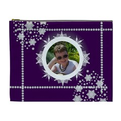 Ice Cool Dude Purple Snowflake Cosmetic Bag By Catvinnat   Cosmetic Bag (xl)   Xefesa49xfwe   Www Artscow Com Front