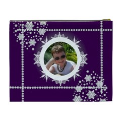 Ice Cool Dude Purple Snowflake Cosmetic Bag By Catvinnat   Cosmetic Bag (xl)   Xefesa49xfwe   Www Artscow Com Back