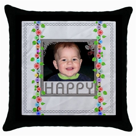 Happy Throw Pillow By Lil    Throw Pillow Case (black)   Tikbnii3f7bn   Www Artscow Com Front