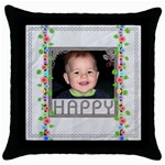 Happy Throw Pillow - Throw Pillow Case (Black)
