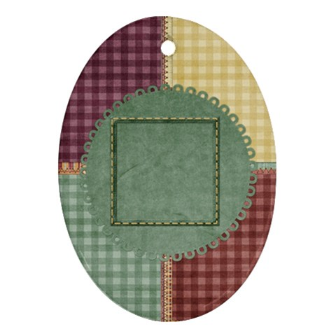 Quilted Oval 1 Sided Ornament By Lisa Minor   Ornament (oval)   Vnwc3stkanwh   Www Artscow Com Front