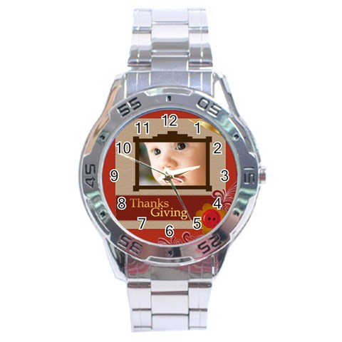 Thanks Giving By Joely   Stainless Steel Analogue Watch   Qxj0dohpiuzw   Www Artscow Com Front